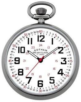 Gotham Men's Gun-Tone Mechanical Pocket Watch