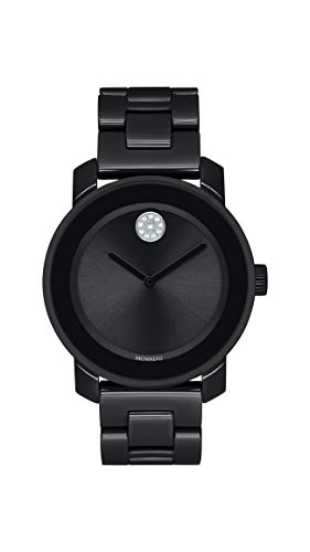 Movado Women's Bold Ceramic Watch with a Crystal-Set Dot, Black/Silver