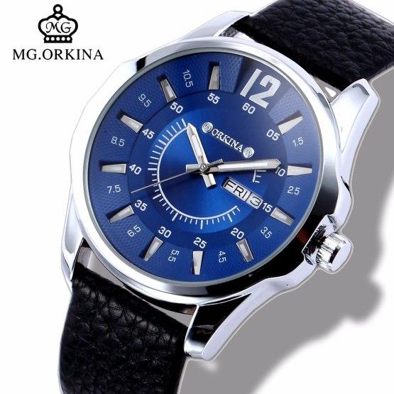 Mens Business Dress Quartz Watch Men Mg.orkina Classic Auto Day Date