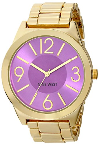 Nine West Women's Purple Orchid Dial Gold-Tone Bracelet Watch