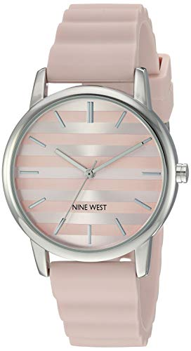 Nine West Women's Silver-Tone and Light Pink Silicone Strap Watch