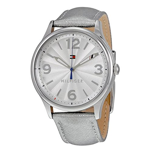 Tommy Hilfiger Women's Metallic Silver Leather Strap Watch