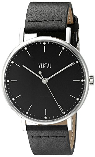 Vestal Unisex The Sophisticate Stainless Steel Watch with Black Leather Band