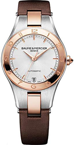 Baume & Mercier Linea Steel and Rose Gold Women's Watch with Brown Strap