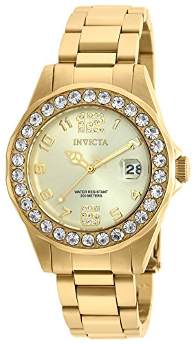 Invicta Women's Pro Diver 18k Gold Ion-Plated Stainless Steel Watch