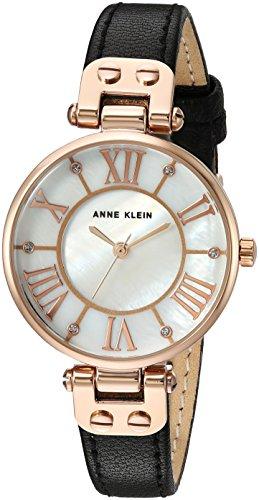 Anne Klein Women's Quartz Metal and Leather Dress Watch, Color:Black
