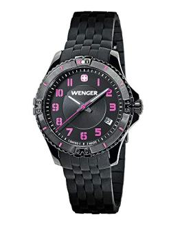 Wenger Squadron Lady Black Dial Silicone Strap Watch