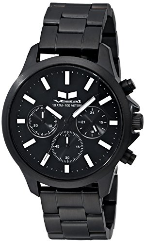 Vestal Unisex Heirloom Chrono Analog Display Analog Quartz Black Watch