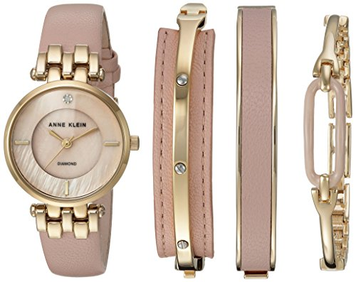 Anne Klein Women's Diamond-Accented Gold-Tone and Pink Leather Watch