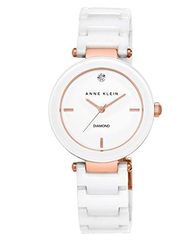 Anne Klein Women's Diamond-Accented White Ceramic Bracelet Watch
