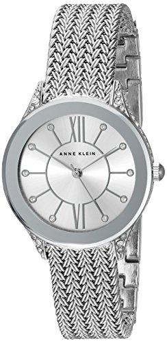Anne Klein Women's Swarovski Crystal Accented Silver-Tone Mesh Bracelet Watch