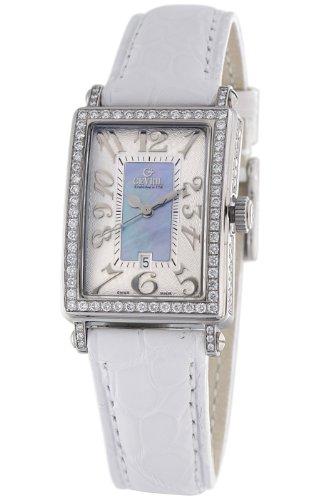 Gevril Women's Blue Mother-of-Pearl Genuine Alligator Strap Watch