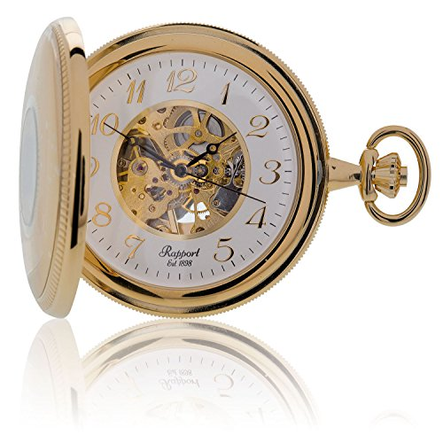 Oxford Half Hunter Pocket Watch with Arabic Numerals Skeleton Dial - Gold