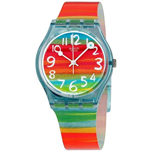 Swatch Women's Quartz Rainbow Dial Plastic Watch