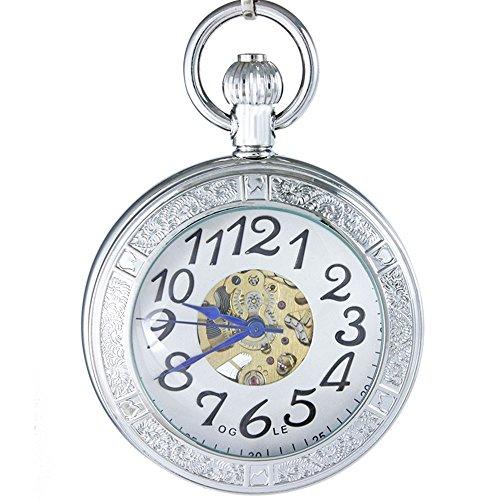 OGLE Waterproof Magnifier Skeleton Pocket Watch (Silver White)