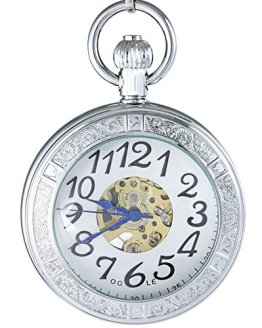 OGLE Waterproof Magnifier Skeleton Pocket Watch (Silver White)