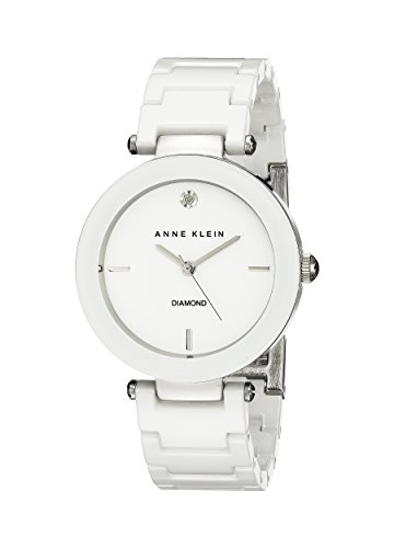 Anne Klein Women's Diamond-Accented Watch with Ceramic Bracelet