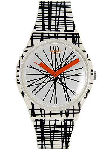 Swatch Women's Originals Black White Multi Rubber Watch