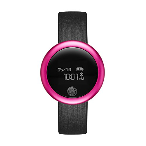 eMotion Unisex Metal and Rubber Smartwatch, Color: Bright Pink, Black