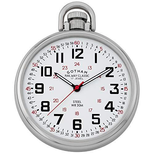 Gotham Men's Stainless Steel Mechanical Hand Pocket Watch