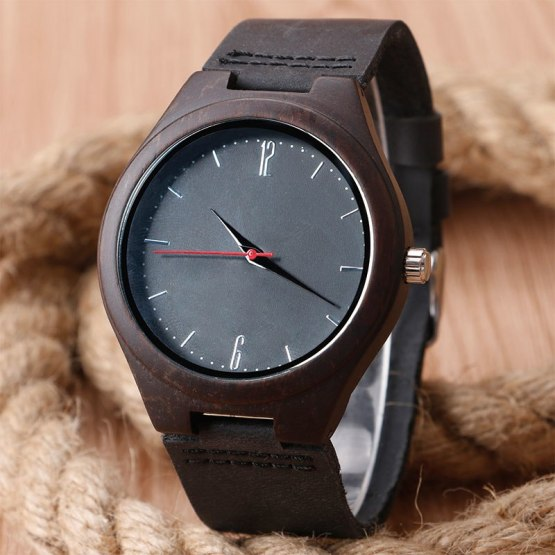 2016 Festival Memorial Day Gift Full Black Bamboo Wristwatch