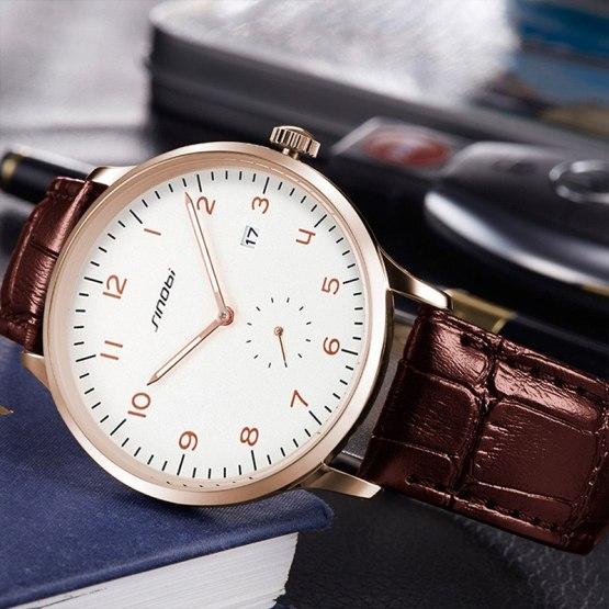 2017 SINOBI Classic Men's Wrist Watches Leather Watchband