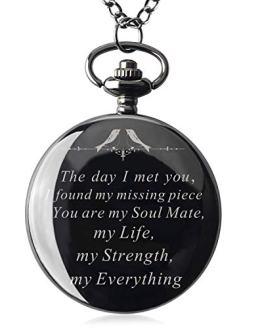Mens Engraved Gifts for Valentine's Day, Anniversary Birthday Pocket Watch