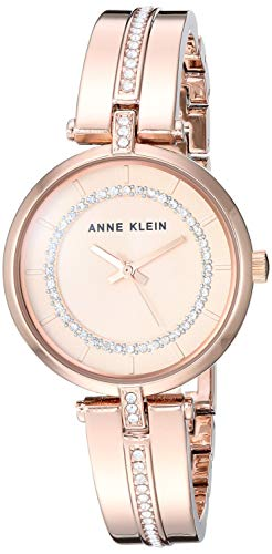 Anne Klein Women's Swarovski Crystal Accented Rose Gold-Tone Bangle Watch