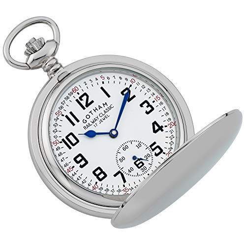 Gotham Men's Silver-Tone Railroad Dial Double Hunter Pocket Watch Gotham Men's Silver-Tone Railroad Dial Double Hunter 17 Jewel Mechanical Pocket Watch # GWC18806S