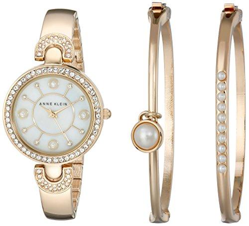 Anne Klein Women's Swarovski Crystal-Accented Gold-Tone Bangle Watch