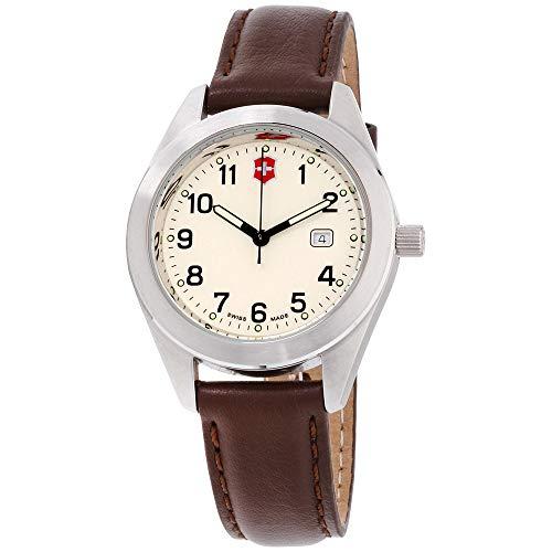 Victorinox Garrison Beige Dial Leather Strap Unisex Watch