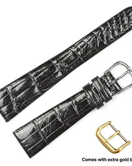 Genuine Alligator Watch Band (Silver & Gold Buckle)