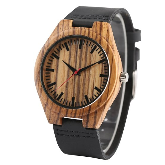New Arrival Creative Fashion Gift Genuine Leather Band Wood Women Men Watch