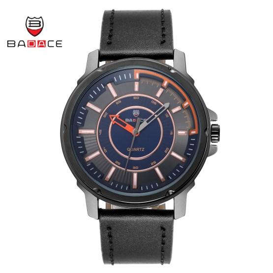BADACE Leather Strap Quartz Men Sport Watch