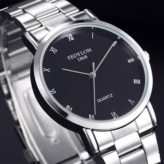 Fedylon Quartz Watch Men Top Brand Luxury Stainless Steel Business Watches