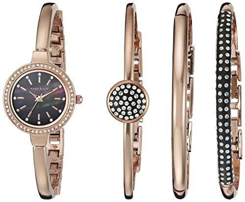 Anne Klein Women's Swarovski Crystal-Accented Rose Gold-Tone Bangle Watch