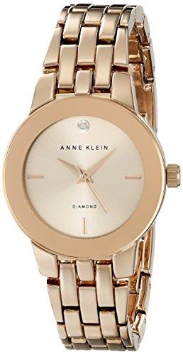 Anne Klein Women's Diamond-Accented Dial Rose Gold-Tone Bracelet Watch