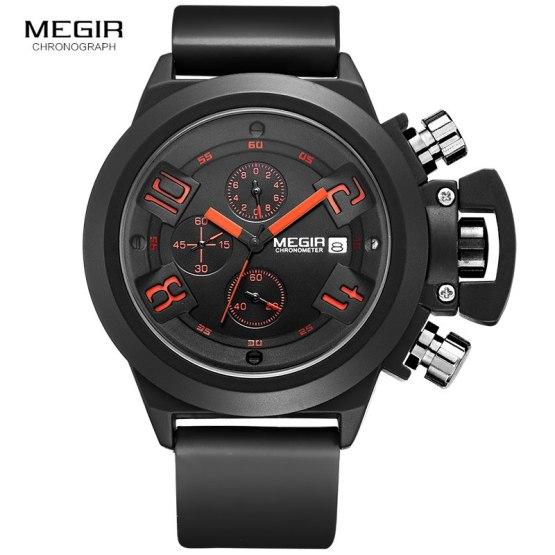 Megir Fashion Mens Silicone Band Sport Quartz Wrist Watches