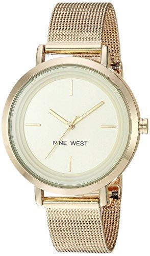 Nine West Women's Gold-Tone Mesh Bracelet Watch