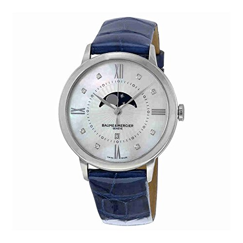 Baume and Mercier Classima Mother of Pearl Dial Blue Leather Ladies Watch
