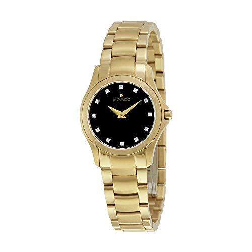 Movado Masion Black Dial Yellow Gold-Tone Ladies Watch