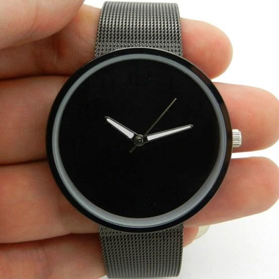 Black Metal Iron Net Web Mesh Band Fashion Simple Quartz Wrist Watch