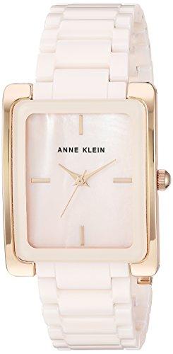 Anne Klein Women's Rose Gold-Tone and Light Pink Ceramic Bracelet Watch