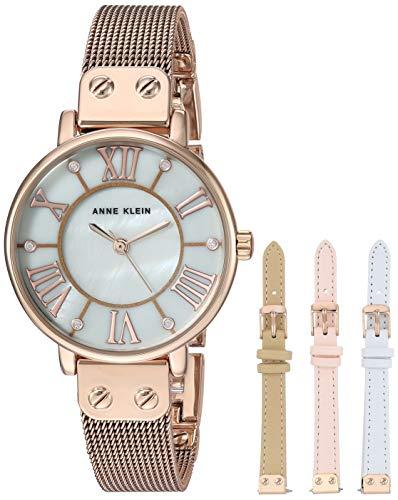 Anne Klein Women's Rose Gold-Tone Mesh Bracelet Watch