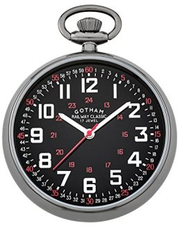 Gotham Men's Gun-Tone Mechanical Pocket Watch
