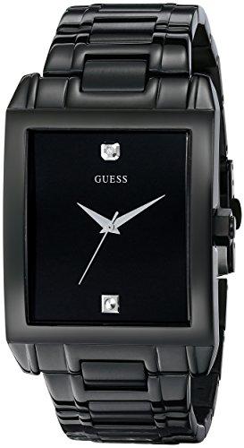 GUESS Men's Classic Black IP Rectangular Diamond Accented Watch