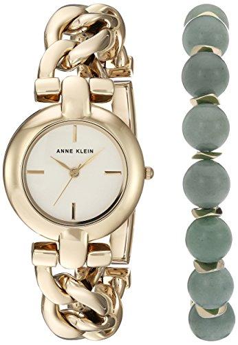 Anne Klein Women's Gold-Tone Watch and Gemstone Beaded Bracelet Set