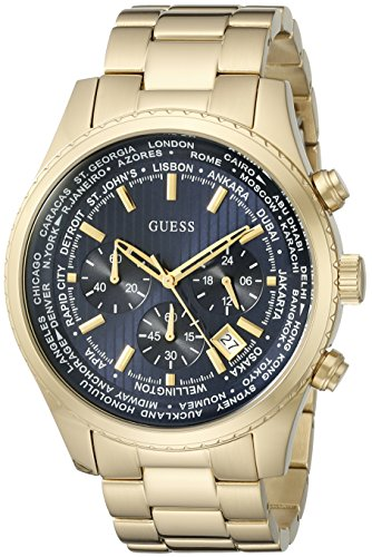 GUESS Men's Dressy Gold-Tone Stainless Steel Multi-Function Watch