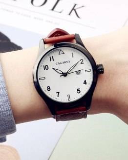 2017 CAGARNY Fashion Hot Men's Watches Top Brand Luxury Leather