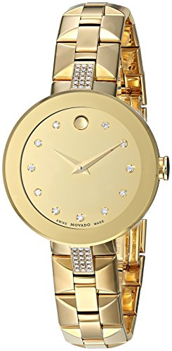 Movado Women's 'Sapphire' Swiss Quartz Tone and Gold Plated Casual Watch